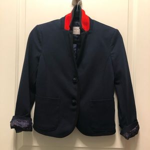 Gap Navy Trim Red Flip Collar Academy Blazer 0